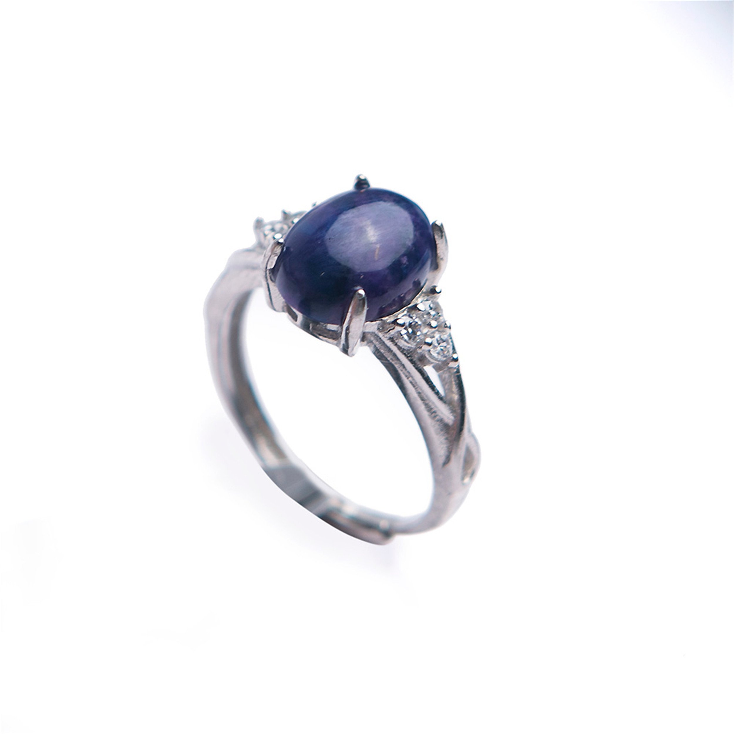 LiZiFang Genuine Natural Purple Sugilite Gemstone Crystal Wedding Party Ring Adjustable Size