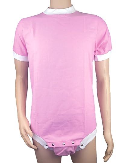 c5f6a331bd81 Cuddlz Baby Pink Adult Short Wincyette Onesie ABDL Romper Body Suit ...