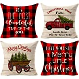 Kithomer Christmas Decorations Pillow Covers Set of 4 Christmas Buffalo Plaid Farmhouse Decor Throw Pillow Cases Retro…