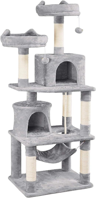 Yaheetech - Árbol rascador XXL para gatos con 2 casas para gatos, 2 plataformas, color gris claro: Amazon.es: Productos para mascotas