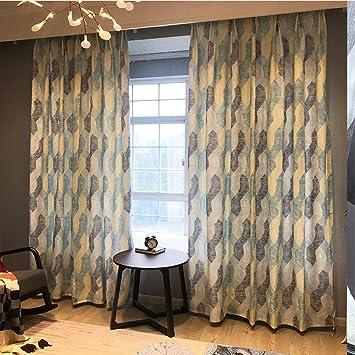 AGWa Algodón y lino impresión lápiz plisado cortinas aislada termal del apagón cortinas de oscurecimiento cortina para la sala 250 * 270cm 2 paneles, Brown, 200 * 270cm,Azul,250 * los 270CM: Amazon.es: Bricolaje y herramientas