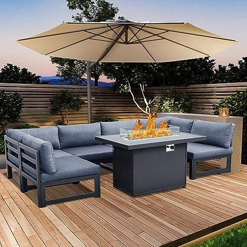 Hooseng 6pcs Patio Conversation Sofa Set Propane Fire Pits Table-55000 BTU 44 inch Rectangle Gas Firetable