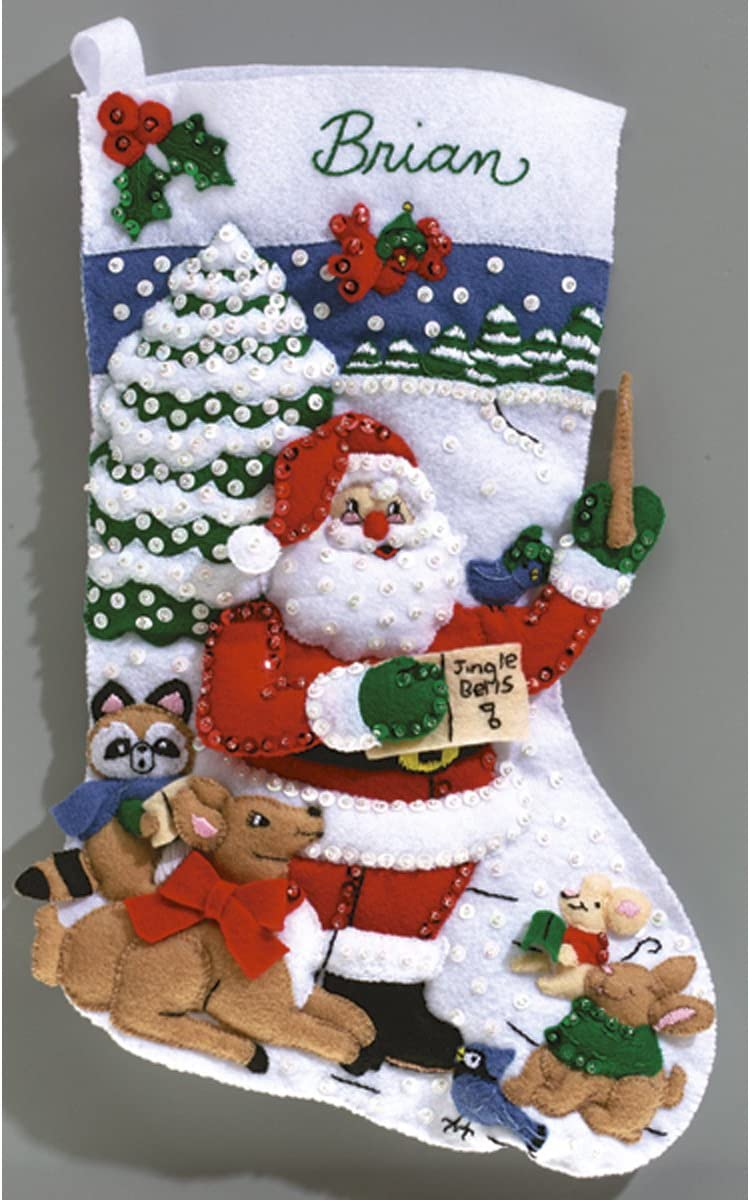 Janlynn Sing Along With Santa Stocking Felt Applique Kit