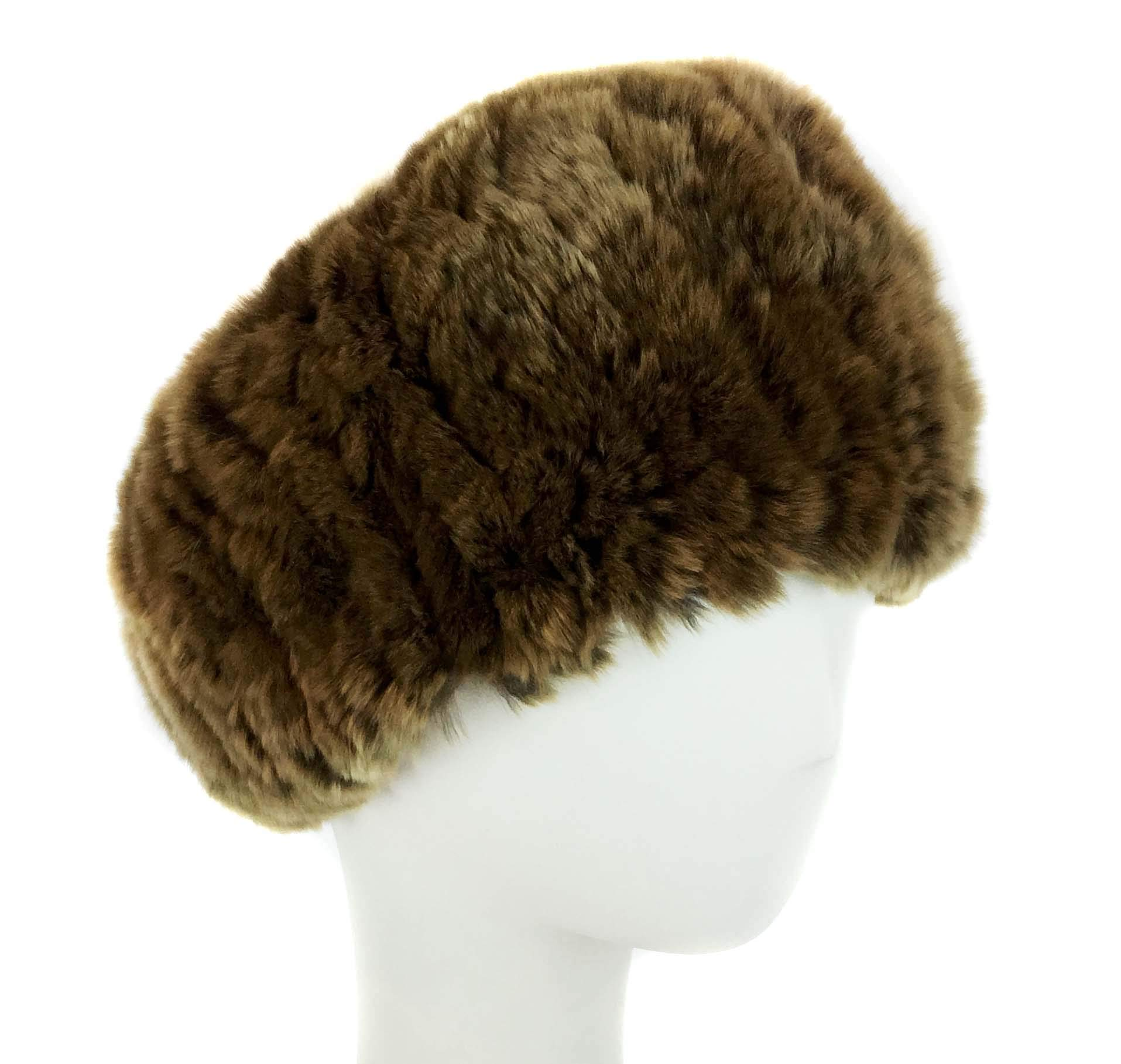 Surell Rex Rabbit Textile Knit Headband - Winter Scarf Ear Warmers - Luxury Gift (Golden Brown)