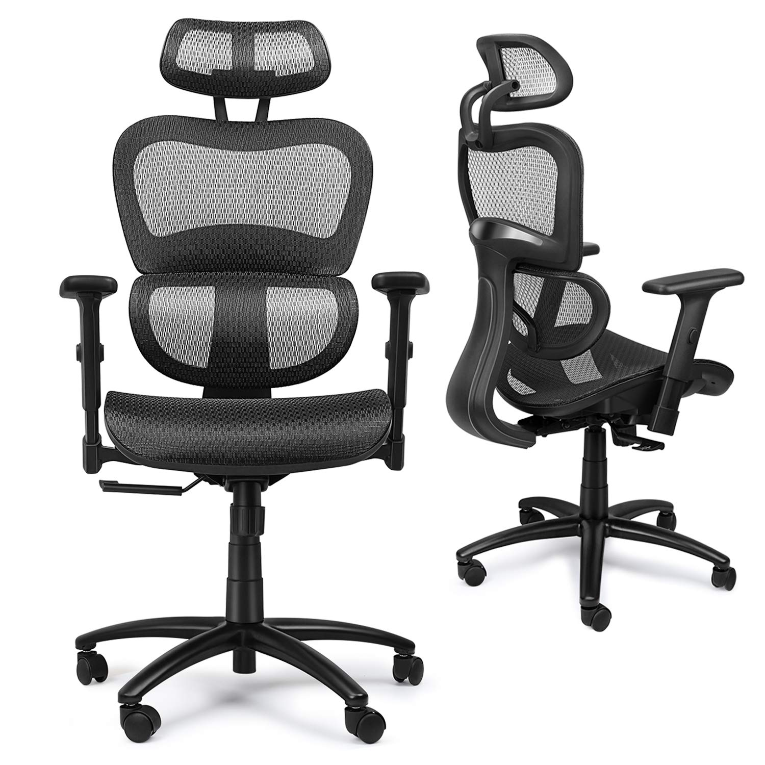 Mysuntown Office Mesh Chair, Ergonomic Task Chair with Back&Lumbar Support, Adjustable Headrest & Adjustable Armrests (Black)
