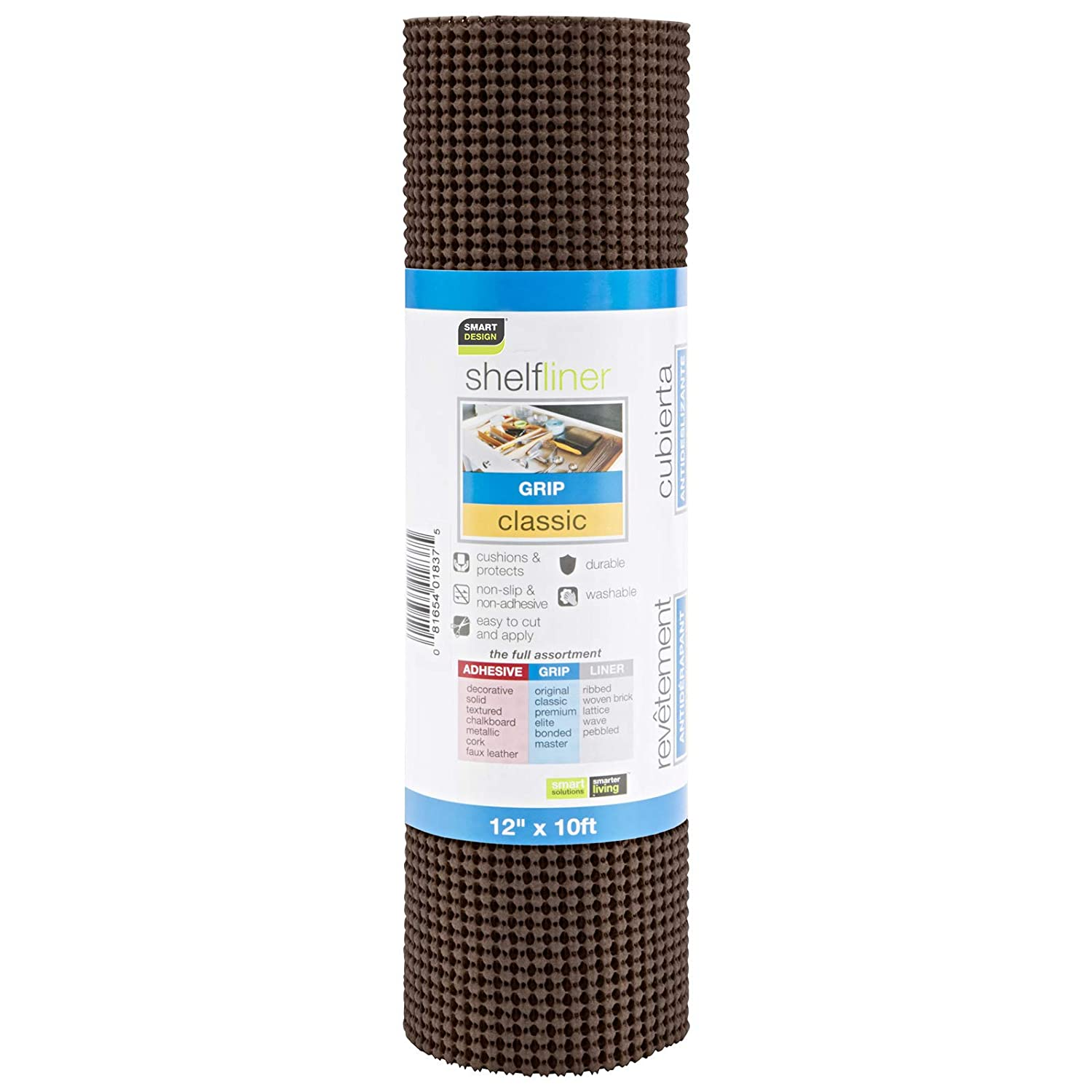 Wipes Clean Drawers 12 Inch x 10 Feet Cutable Material Non Slip Design Kitchen for Shelves Smart Design Shelf Liner w//Classic Grip Flat Surfaces Coffee Bean