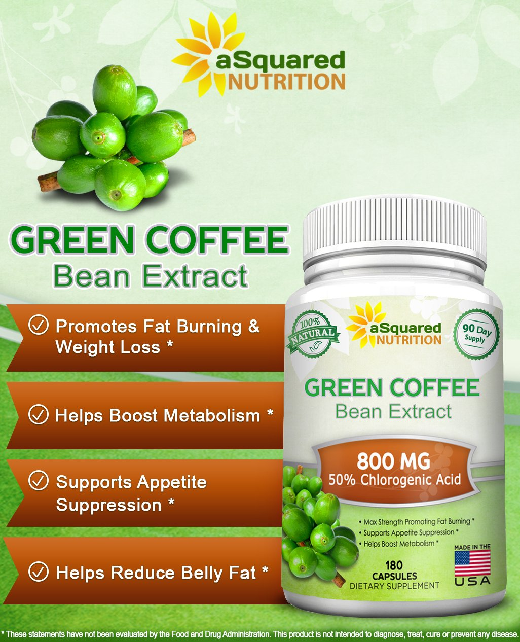100% Pure Green Coffee Bean Extract - 180 Capsules - Max Strength Natural GCA Antioxidant Cleanse for Weight Loss, 800mg w/ 50% Chlorogenic Acid per Pill, 1600mg Daily Supplement, Healthy Fat Burner by aSquared Nutrition (Image #2)