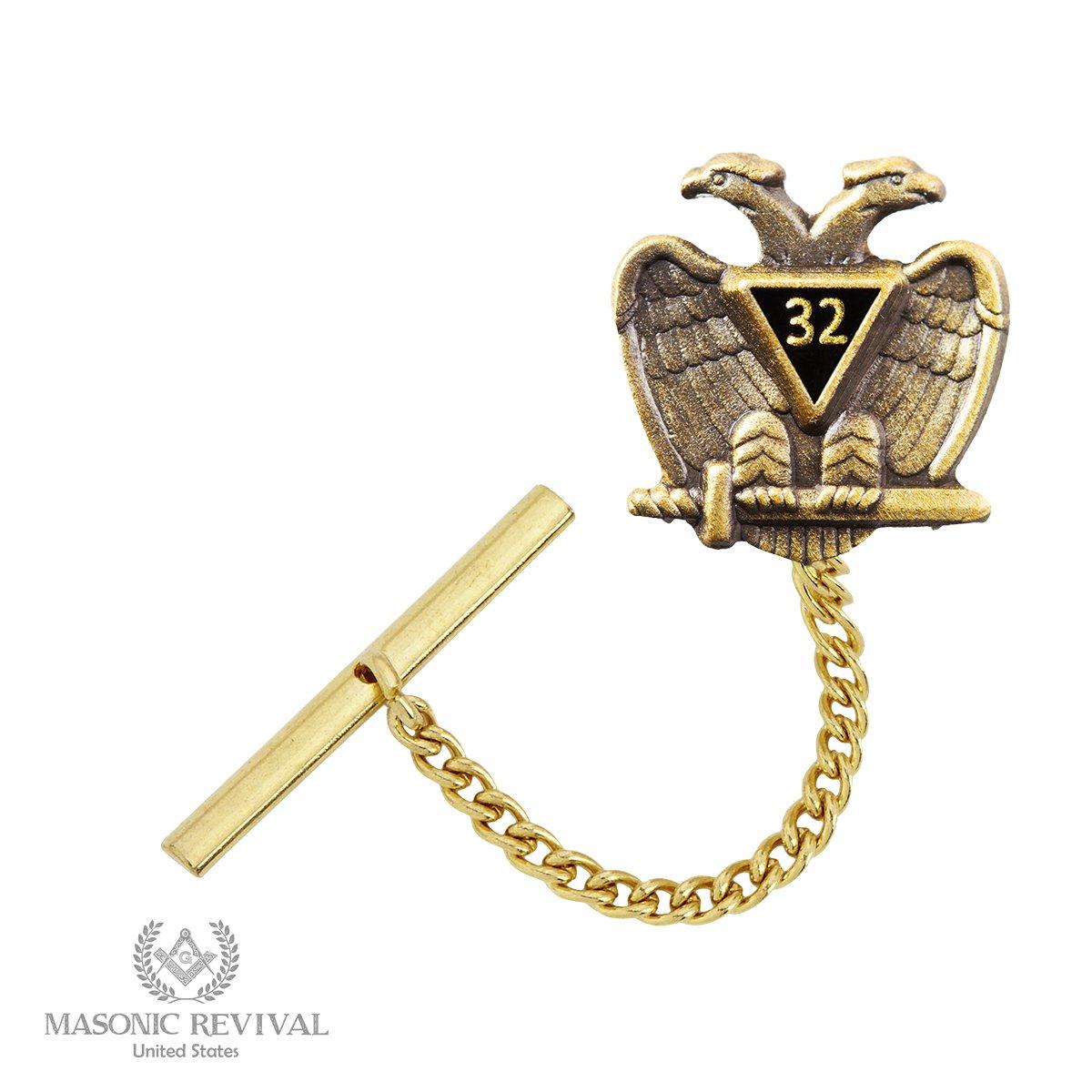 Grau32 Scottish Rite Tie Pin Tack by Masonic Revival (Antique Gold)