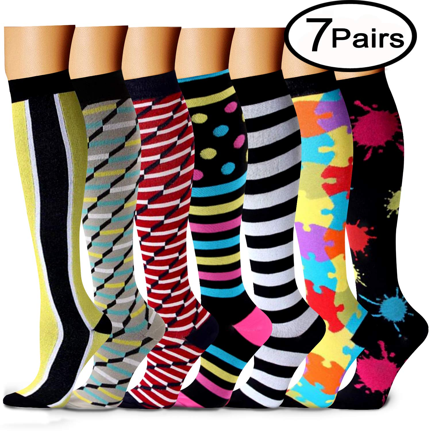 CHARMKING Compression Socks 15-20 mmHg is BEST Graduated Athletic & Medical for Men & Women Running, Travel, Nurses, Pregnant - Boost Performance, Blood Circulation & Recovery(Small/Medium,Assorted 6)