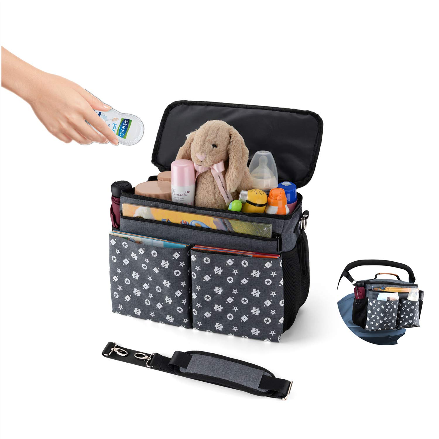 Large Baby Stroller Organizer Diaper Bag with Extra Storage, Easy Installation, Bottle Holders, Shoulder Strap for Stroller Like Uppababy, Baby Jogger, Britax, Bugaboo, BOB, Umbrella & Pet Stroller