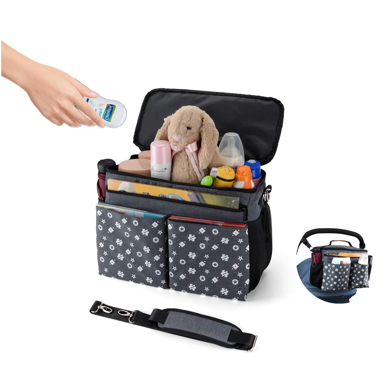Large Baby Stroller Organizer Diaper Bag with Extra Storage, Easy Installation, Bottle Holders, Shoulder Strap for Stroller Like Uppababy, Baby Jogger, Britax, Bugaboo, BOB, Umbrella & Pet Stroller by Jenleestar (Image #1)