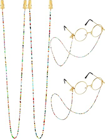2 Pieces Eyeglass Chains Colorful Beaded Glasses Chain with Clip Eyeglass Strap Eyewear Retainer Sunglasses Lanyard for Women