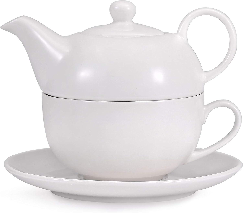 Urban Lifestyle Tea 4 One//Tea for One Juego de tetera y platillo porcelana, 0,4 L