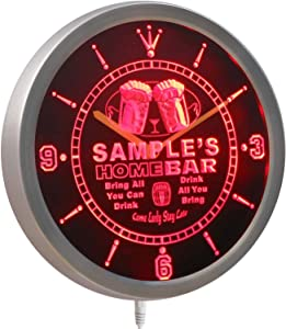 ncp-tm-r Home Bar Personalized Your Name Bar Pub Kitchen Sign Neon LED Wall Clock Red