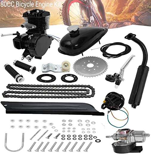 80CC Bicycle Engine Kit, Motorized Bike 2-Stroke, Petrol Gas Engine Kit, Super Fuel-efficient for 26 and 28 Bikes Black
