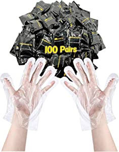 MaikcQ Non-medical Plastic Glove Food preparation Tools, Individually Packaged,for Restaurants, Takeaways and Kitchens, Thicker Version 100 Pairs (Black package, 100 pairs)