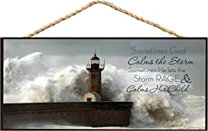 P. Graham Dunn God Calms The Storm Lighthouse Wooden Sign with Jute Rope Hanger