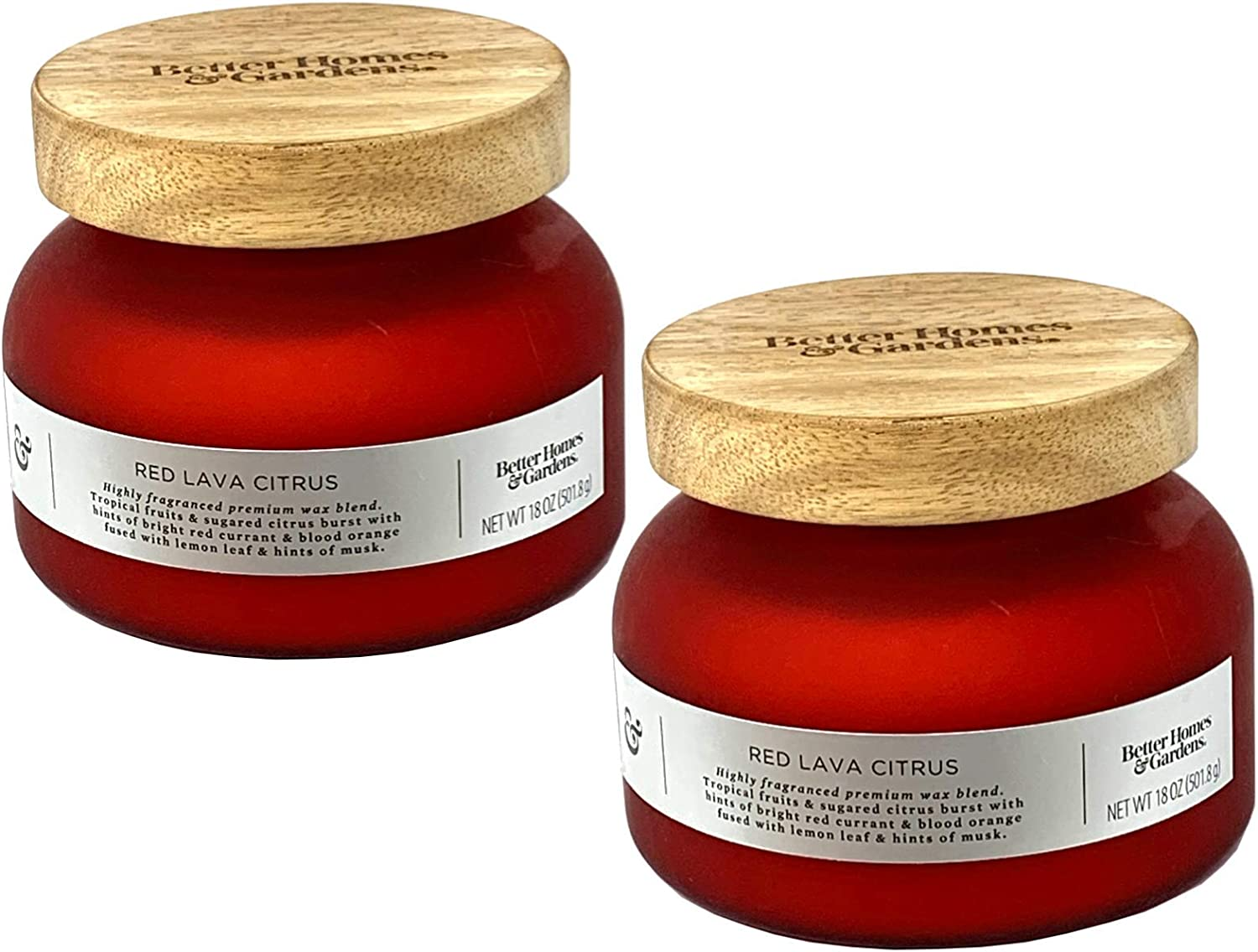 Better Homes and Gardens 18oz Scented Candle, Red Lava Citrus 2-Pack