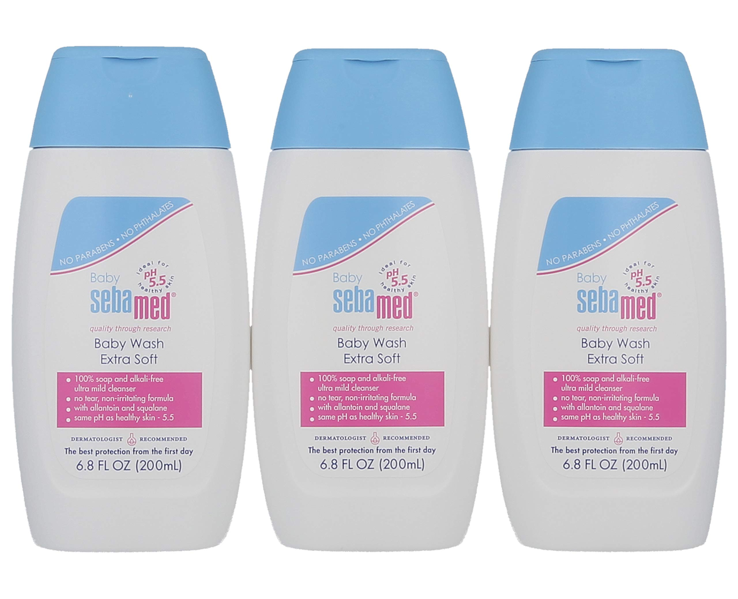 Sebamed Baby Wash Extra Soft Dermatologist Recommended Ultra Mild Moisturizer 6.8 Fluid Ounces (200 Milliliters) Pack of 3 by SEBAMED