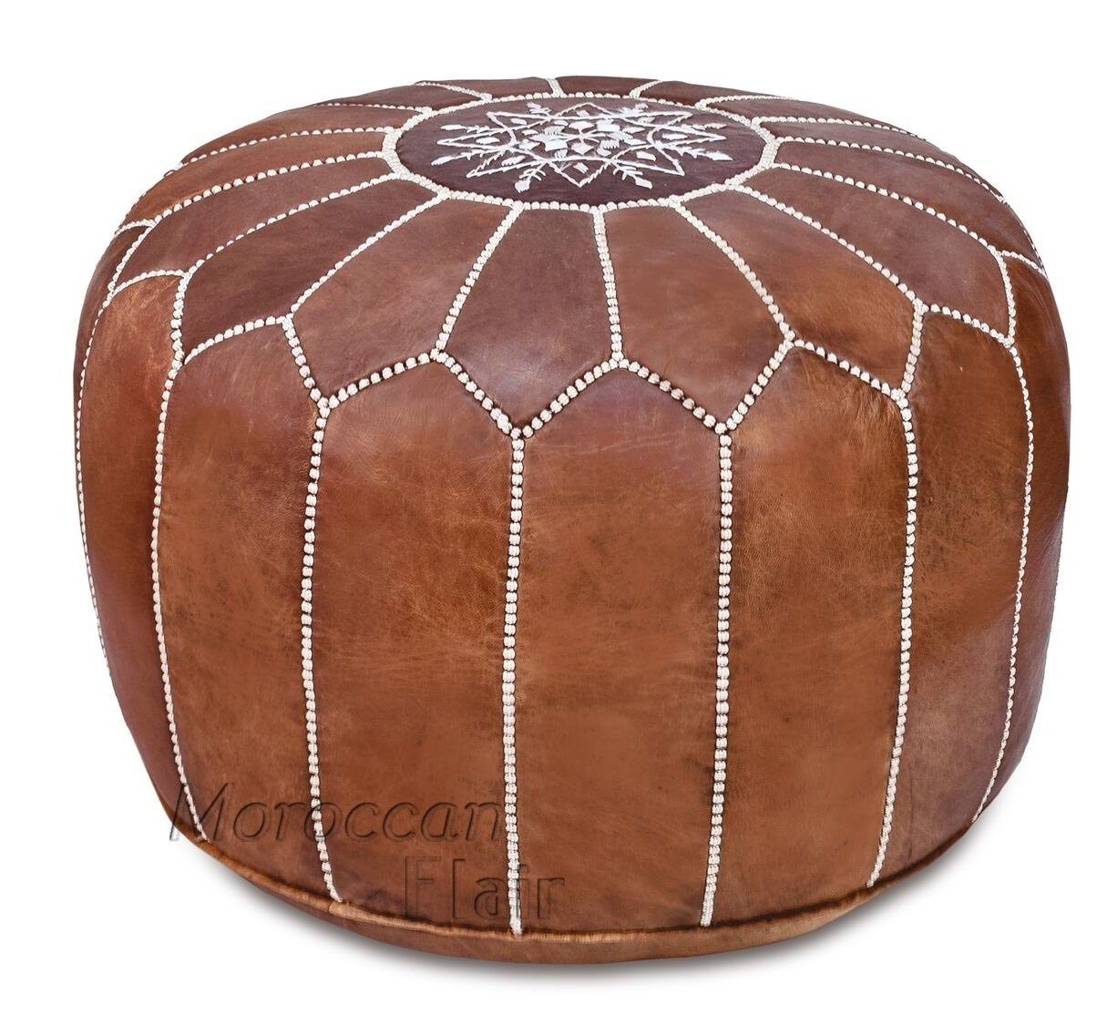 Stuffed Handmade Genuine Leather Moroccan Pouf, Ottoman (Tan) by Moroccan Flair