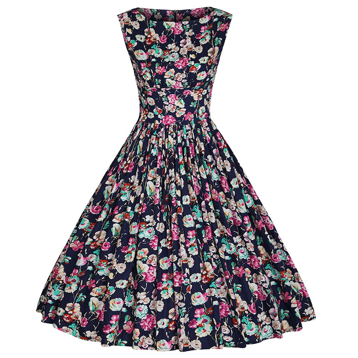 VENIMASEE Women Sexy 50s Swing Vintage Retro Housewife Rockabilly Evening Party Dress