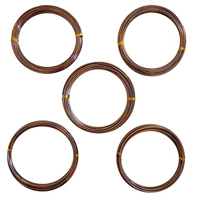 Anodized Aluminum Bonsai Training Wire 5-Size Starter Set - 1.0mm, 1.5mm, 2.0mm, 2.5mm, 3.0mm (147 feet Total) - Choose Your Color (5 Sizes, Brown): Garden & Outdoor