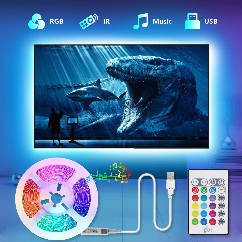 Tiras LED TV 2.2M, TASMOR Tira LED USB RGB 5050 Sincronización de Música Multicolor, Luces LED Habitación con Control Remoto, Luz LED TV Gaming con Autoadhesiva 3M para 30-60 Inchi TV/PC: Amazon.es: