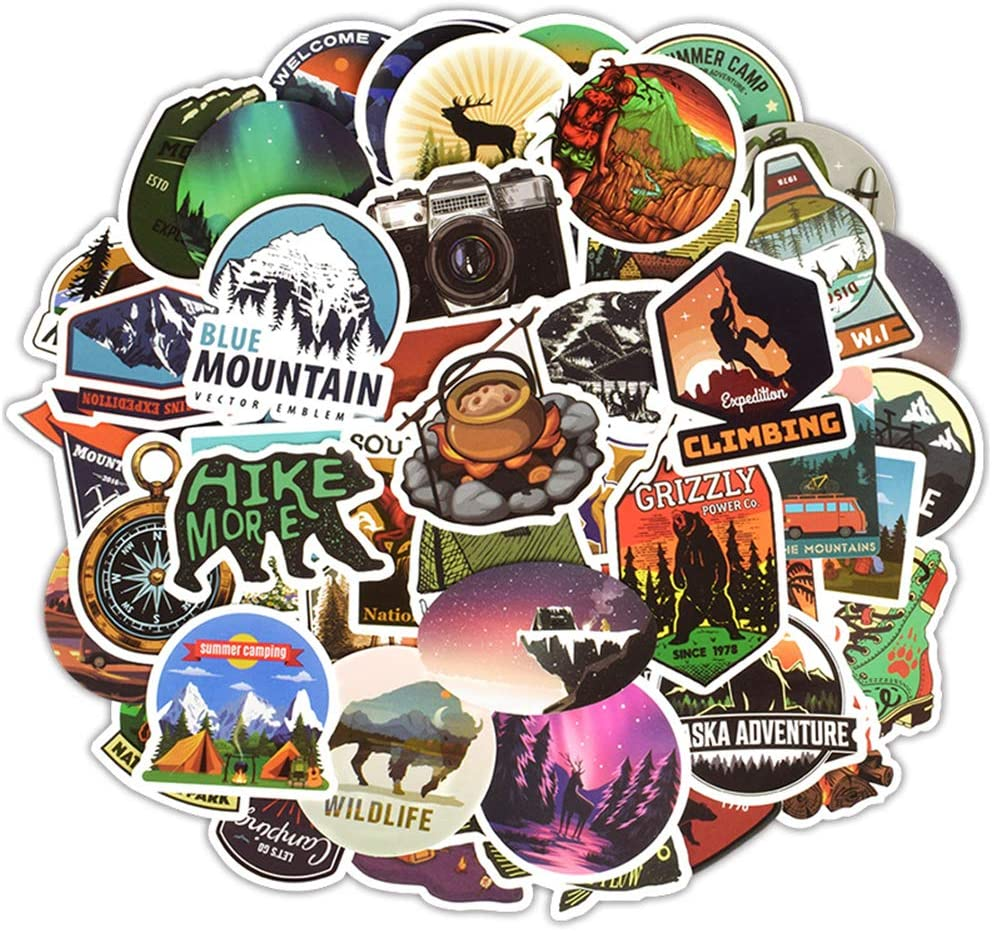 Wilderness Nature Stickers Outdoors Hiking Camping Travel Adventure Stickers, 50 Pcs Waterproof Vinyl Stickers for Laptop Car Luggage Helmet Bike Water Bottle