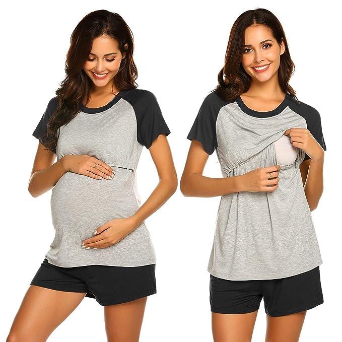 4dd8b7180 MAXMODA Ropa Premamá Lactancia Pijama Conjunto Maternidad El Verano Pijama  Premamá Embarazo Pantalones Cortos S-XXL  Amazon.es  Ropa y accesorios