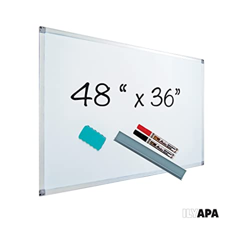 Magnetic Dry Erase Board with Magnetic Eraser & Tray - 48 X 36 Inches - Fun Whiteboard for Kids, Students & Adults