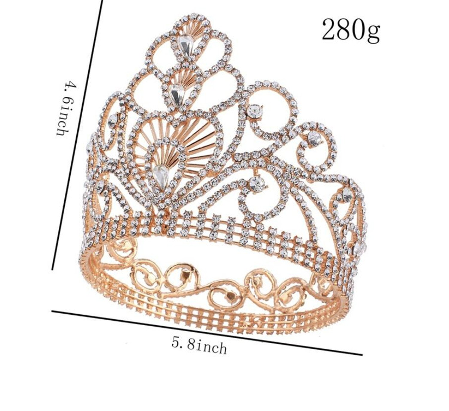 Wiipu 4.6'' High Round Royal Sparkly Rhinestones Tiaras Crowns,5.8'' Diameter(A1367) (Gold) by WIIPU (Image #4)