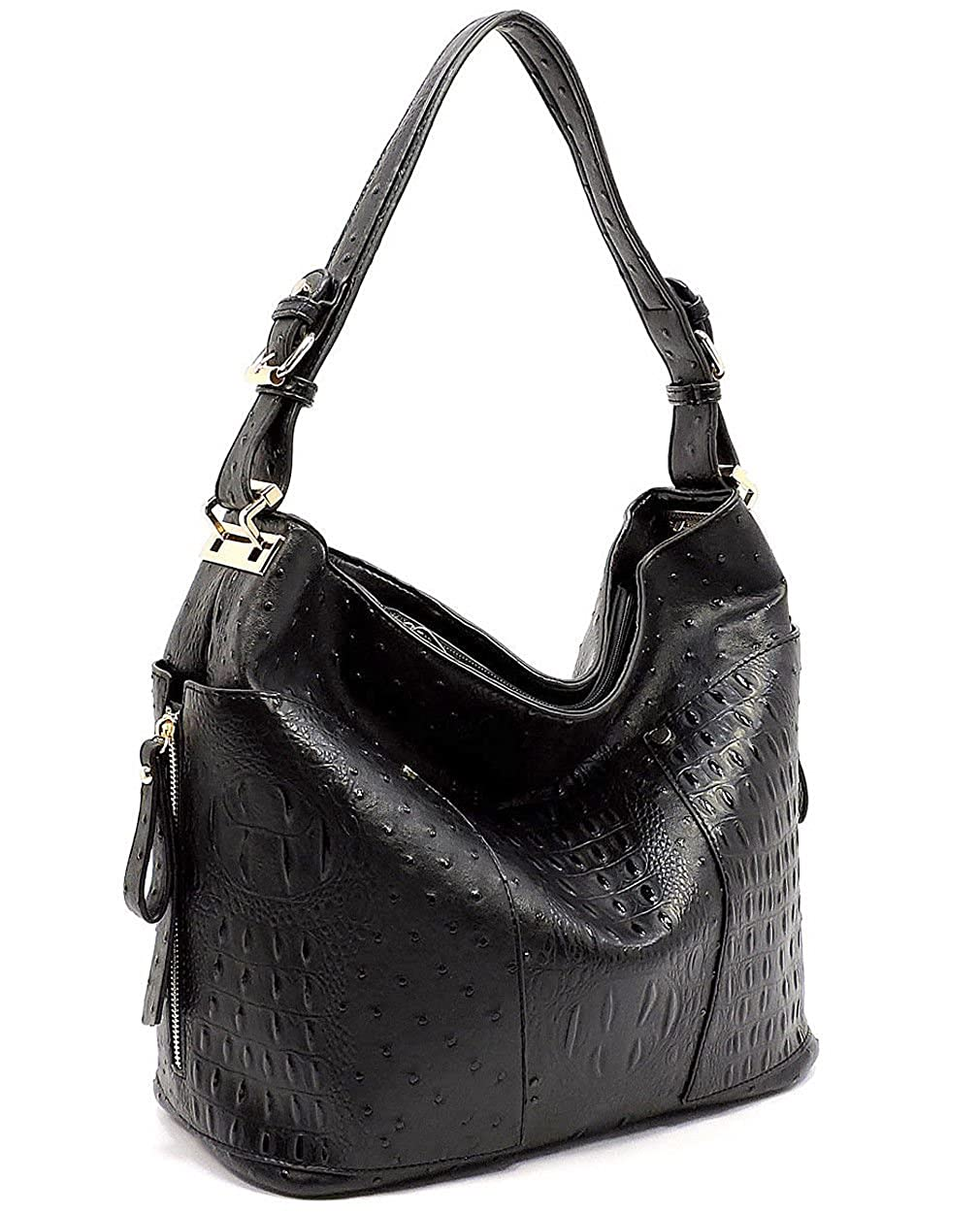 2 Compartment Zip-top LG Hobo w//Side Pockets Le Miel Ostrich Embossed Black