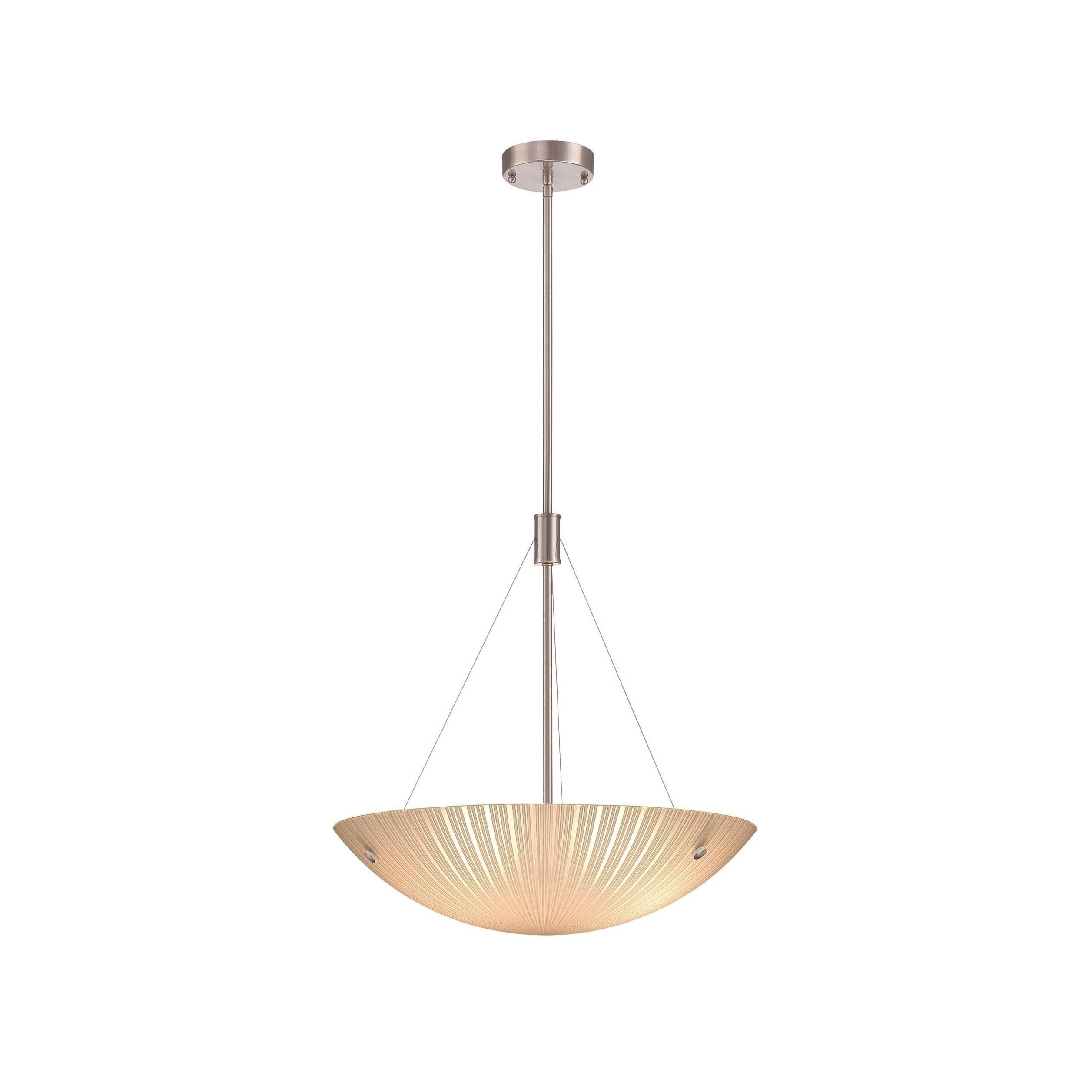 Lite Source LS-18461 Rocco 3-Light Pendant with Frost Glass Shade, Polished Steel Finish