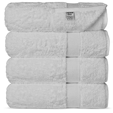 Chakir Turkish Linens Luxury Ultra Bamboo 4-Piece Bath Towel Set-Soft, Absorbent and Eco-Friendly, White