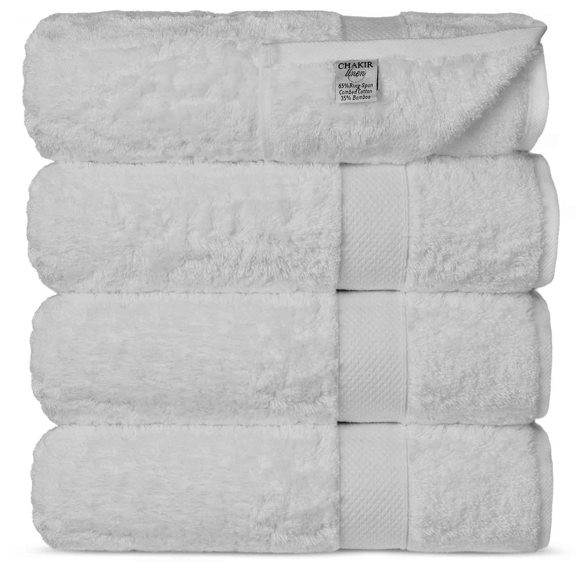 Chakir Turkish Linens Luxury Ultra Bamboo 4-Piece Bath Towel Set - Soft, Absorbent and Eco-Friendly, White