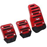3 Pc Negro Rojo Metal Y Plástico Antideslizante tapa Pedal para coche