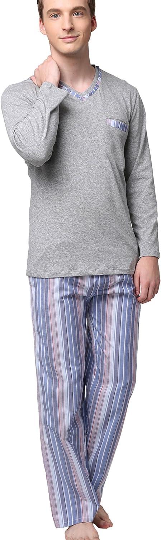 Godsen Mens Cotton Pajama Sleepwear Sets Sweatsuits