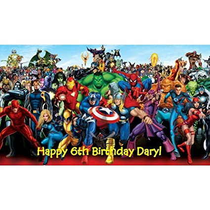 Amazon Marvel Superheroes Edible Image Birthday Cake Topper