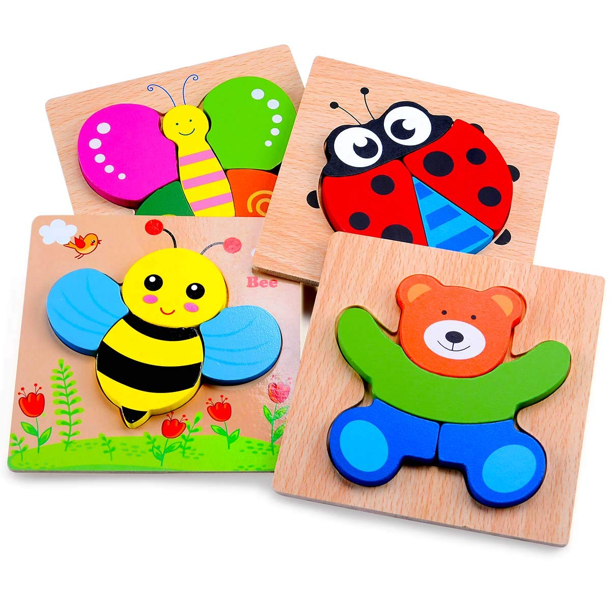 MAGIFIRE Wooden Animal Jigsaw Puzzles for Toddlers 1 2 3 Years Old,Boys&Girls Educational Toys Gift with 4 Animals Patterns,Bright Vibrant Color Shapes by MAGIFIRE