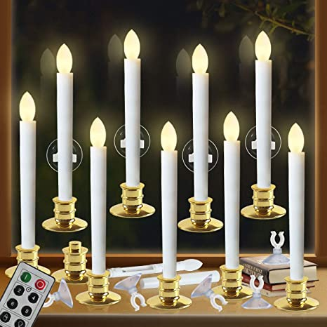 Amazon Com Window Candles With Remote Timers Battery Operated Flickering Flameless Led Electric Candle Lights With 10pcs Gold Base And 10pcs Suction Cups Taper Candle Holder For Christmas Decorations Home Kitchen