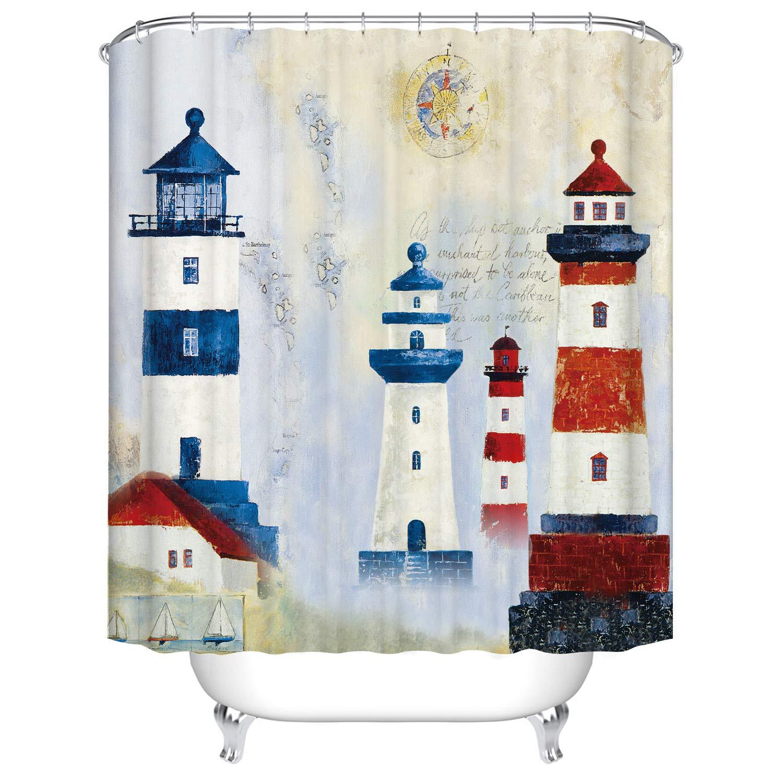 Fangkun Custom Bathroom Shower Curtain Decor Set - Nautical Lighthouse Design - Waterproof Polyester Fabric Bath Curtains - 12 pcs Shower Hooks - Blue White Red (72 x 72 inches, YL198#)