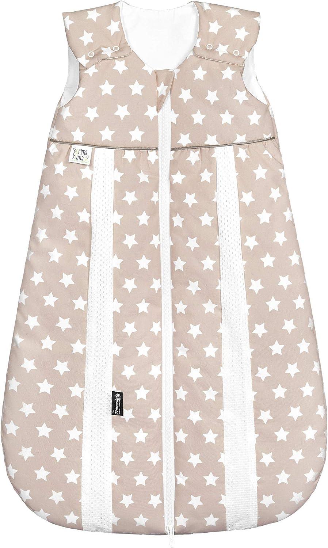 Odenw/älder Prima Klima Thinsulate Schlafsack//Winter Baby-Schlafsack atmungsaktiv///Ärmelloser Au/ßensack waschbar Gr/ö/ße:80 Design:Sterne beige