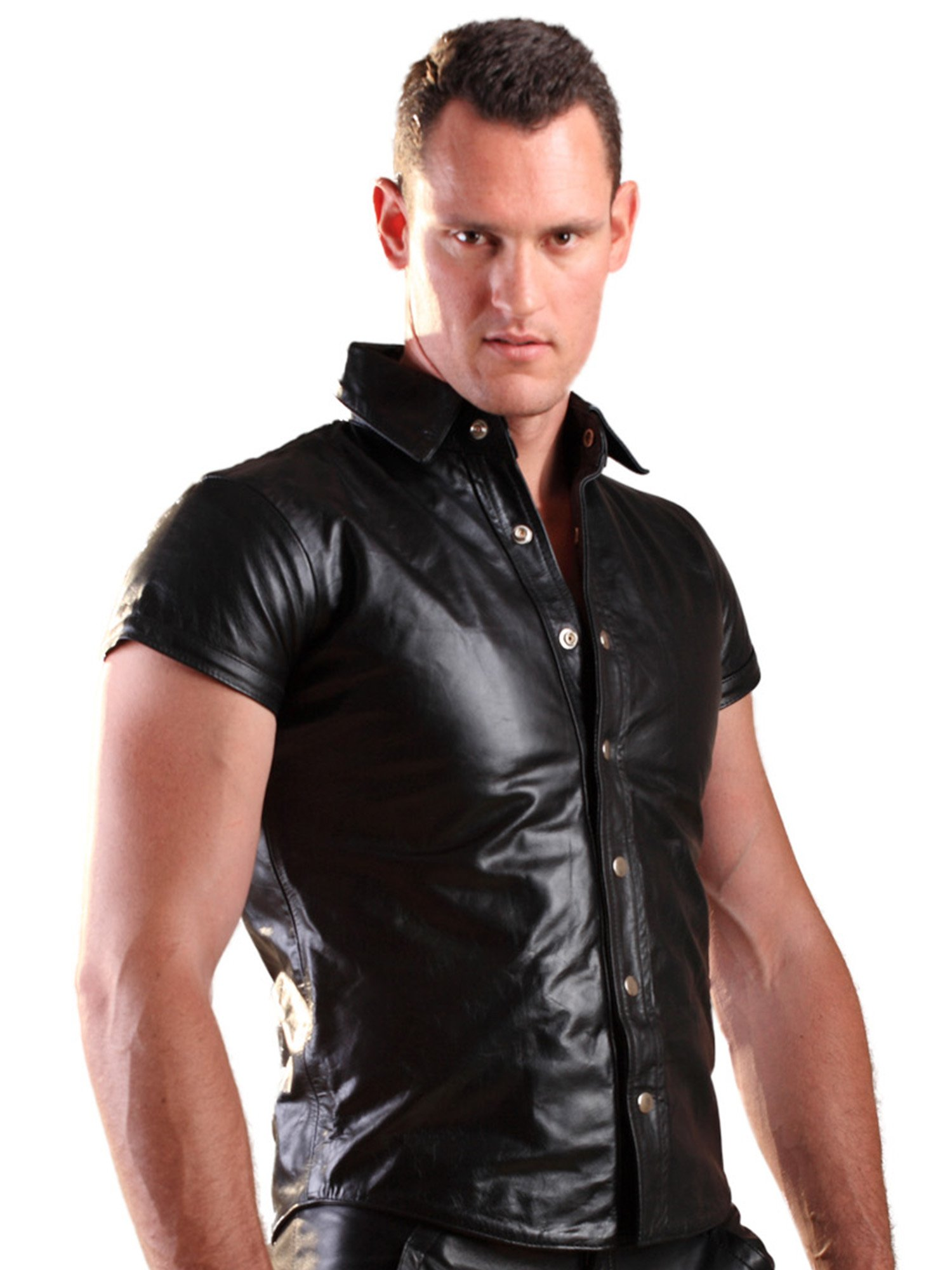 Honour Men's Shirt in Leather Black size S