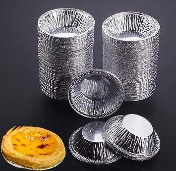 Somtis Molde para Tartas de Huevo, 250 Piezas, Papel de Aluminio desechable, Molde Redondo para Molde de Molde para Hornear Cupcakes: Amazon.es: Hogar