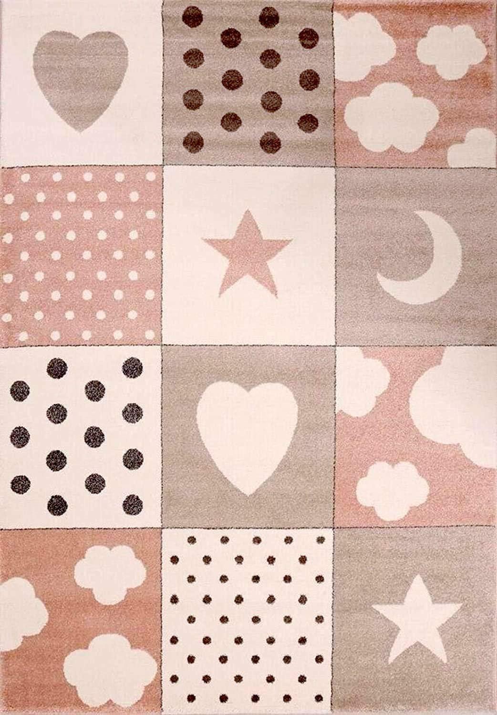 Estrellas Gris y Rosa Color: Azul Nubes dise/ño de Patchwork con Corazones Fashion4Home Alfombra Infantil para la habitaci/ón de los ni/ños
