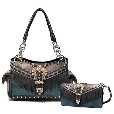 Image Unavailable. Image not available for. Color  Cowgirl Trendy Western  Buckle Fringe Handbag Conceal Carry Shoulder Bag ... d00293855abcf