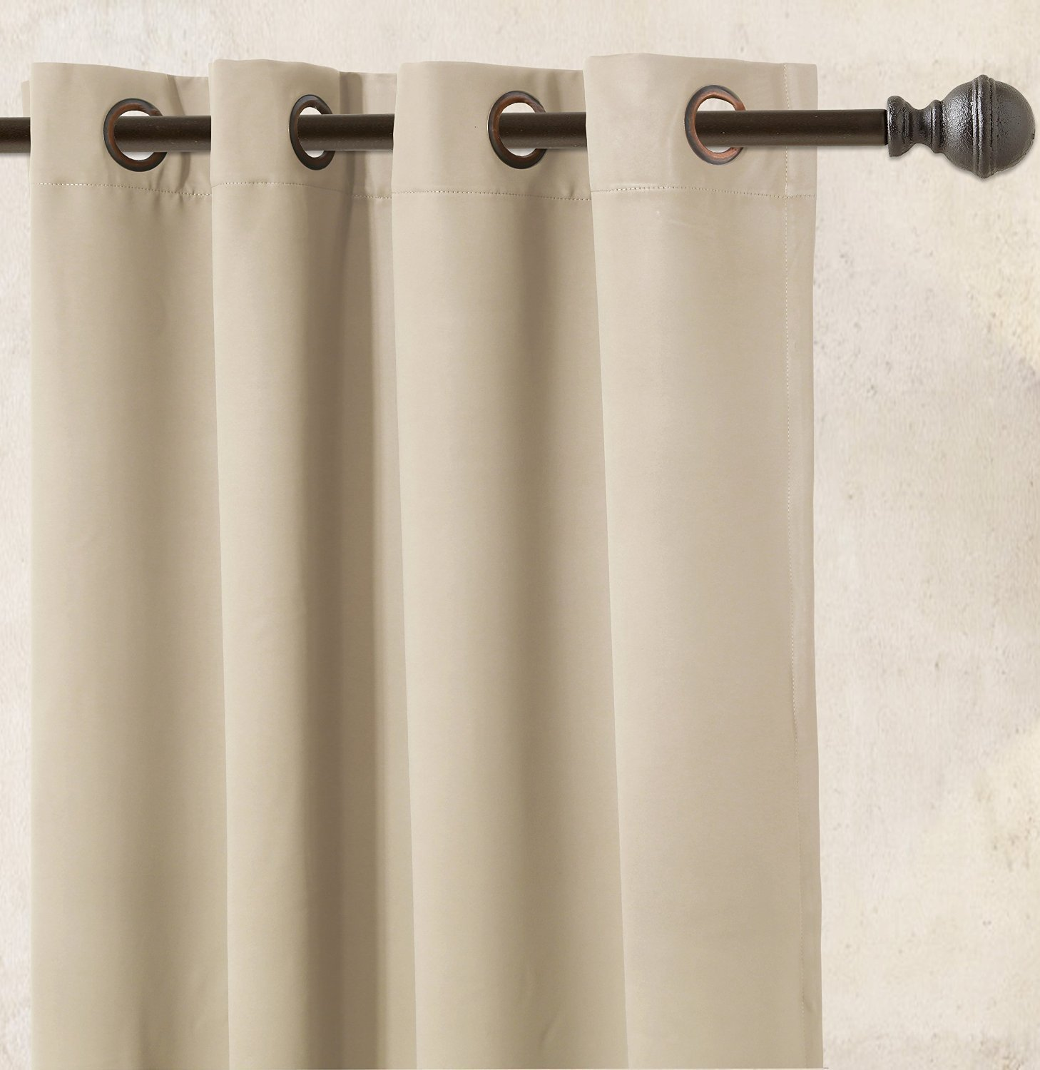 Blackout Room Darkening Curtains Window Panel Drapes - Beige Color
