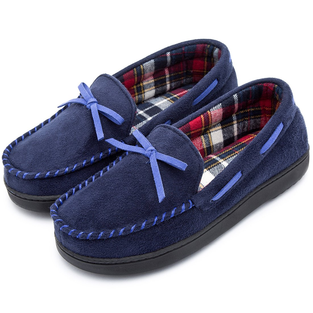 RockDove Women's Memory Foam Moccasin Slippers with Plaid Lining (9 B(M) US, Dark Blue)