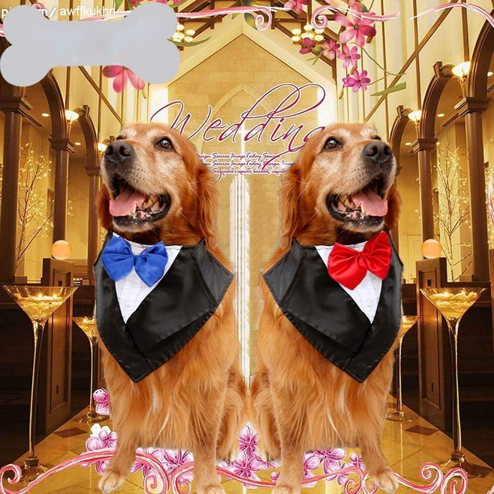 LHKJ Dog Wedding Suit Clothes Tuxedo Classic Christmas Adjustable Cat Costume Clothes with Bow Tie for Large Dogs Wedding Party or Halloween