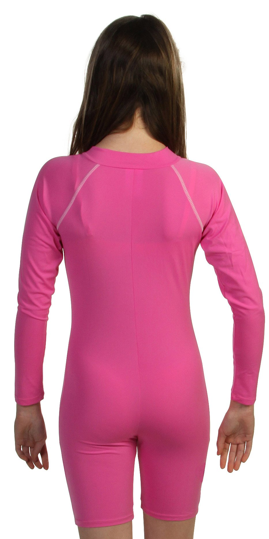 Sun Emporium Girls Pink UV Sun Protective Rash Guard Swim Suit with Long Sleeves - UPF/SPF Protection, pink, 10 by Sun Emporium